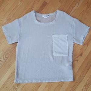 Helmut Lang short sleeve sheer front pocket top